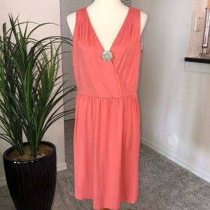 🆕 ANN TAYLOR LOFT coral wrap top casual dress